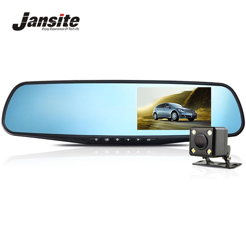 Jansite Full HD 1080P Car Dvr Camera Night Vision 4.3 Inch Rearview Mirror Digital Video Recorder Dual Lens Registrar Camcorder