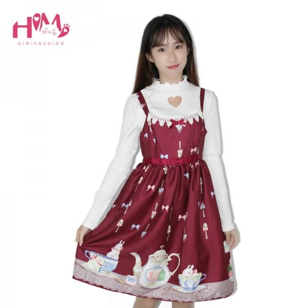 Japanese Preppy Style Sweet Lolita Tee Cup Women Dress Rabbit Spaghetti Strap Cute Lovely Red Dress With Bow JSK Summer Dress