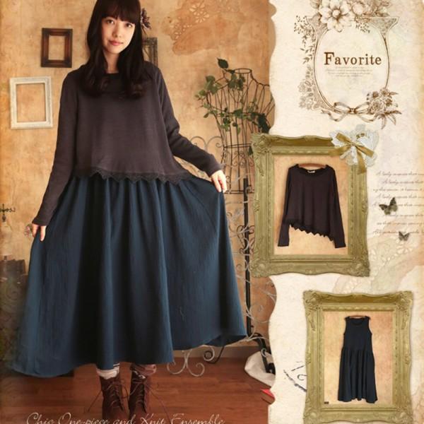 Japanese Spring Mori Girl Dress Womens Sweet Soft Loose Two Piece O