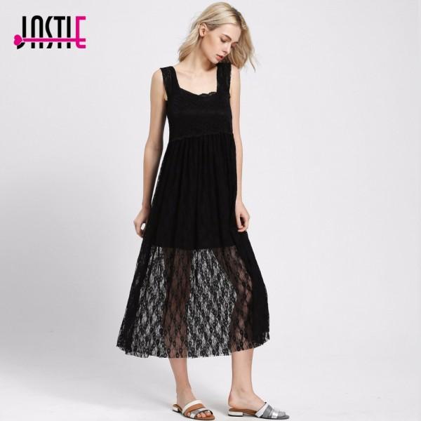 Jastie Sexy Summer Style Boho Intimately Sheer Floral Lace Maxi Dress Long Women Dresses Romantic Layering Vestidos 8101