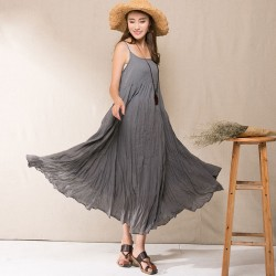 Johnature 2018 Summer New Women Casual Strap Dress Sleeveless Loose Solid Color Sweet Fresh Cotton Linen Brief Dress