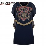 KAIGE .nina New  Summer Style Women Vintage Dress Diamonds Decor Floral Print Casual Loose Chiffon Dresses 815#-1