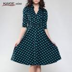Kaige.Nina Summer Women Dot Polka Dresses Half Black Retro Casual Party Robe Rockabilly 50s Vintage Vestidos Plus Size 2205