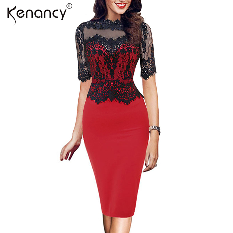 Kenancy 2XL Retro Floral Black Lace Patchwork Pencil Dress Women Party    Office See Thru Short Sleeve Bodycon Vestidos 3 Colors 12134e42555d