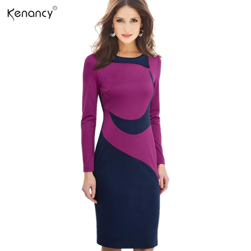 Kenancy Clearance 3XL Plus Size 2 Colors Hit Color Stitching Office Dress  Women Long Sleeve Knee-Length Pencil Bodycon Vestidos 7fff63ee8769