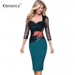 Kenancy Women Plus Size Pencil Dress Summer Autumn Elegant Embroidered Floral Lace Party Office Bodycon Dress Vestidos