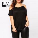 Kissmilk 2017 Women Plus Size Street Style  Spaghetti Strap  Big Large Size Sexy Off Shoulder 3XL 4XL 5XL 6XL Slim Solid T-Shirt