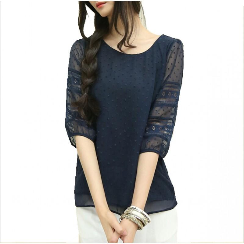 21712dbea46 Korea style plus size sheer blouses short sleeve blusas chiffon shirts big size  women clothes summer Womens tops fashion 2017