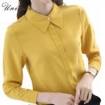 Korean OL Style Chiffon Blouse Women Shirt Long Sleeve Yellow/White Shirt Women Blouse Casual Women's Clothing Tops Bottoming