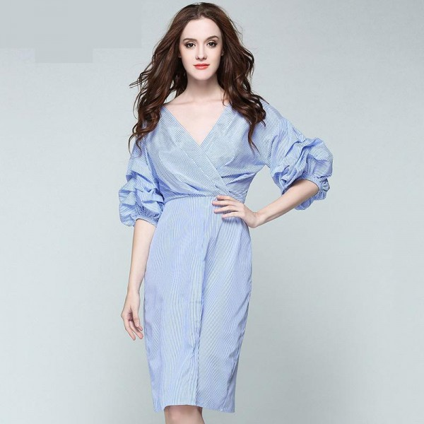 Korean women v neck dress lantern sleeve blue stripe half sleeve dresses sexy spring summer office dress Vestido high quality