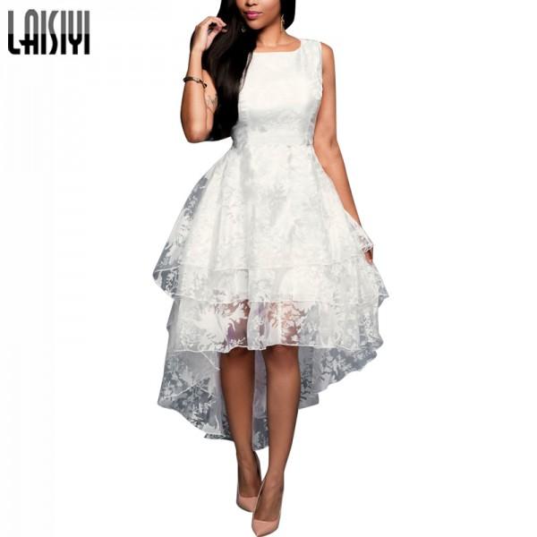 LAISIYI 2017 Summer Ball Gown Women Dress Elagant Eugen Wedding Style Long Dress Short three - tier vest Dress ASDR100118