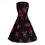 LERFEY Women Elegant Vintage Retro Sleeveless Dress Classic Floral Print Vestidos Party Sashes O Neck Pleated Summer Dresses