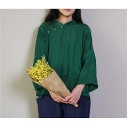 Ladies Silk Tops Chinese Stand-Collar Long sleeve Retro White Shirt Mori Girl Spring 2017 New Women Blouse Tops blusas femininas