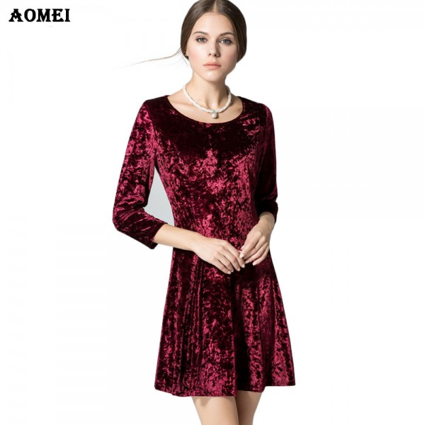 Ladies Wine Redding Dresses Spring Velvet Mini Dress Women Blue Fashion Dress Vestido Office Clothing Robe Femme Tunic