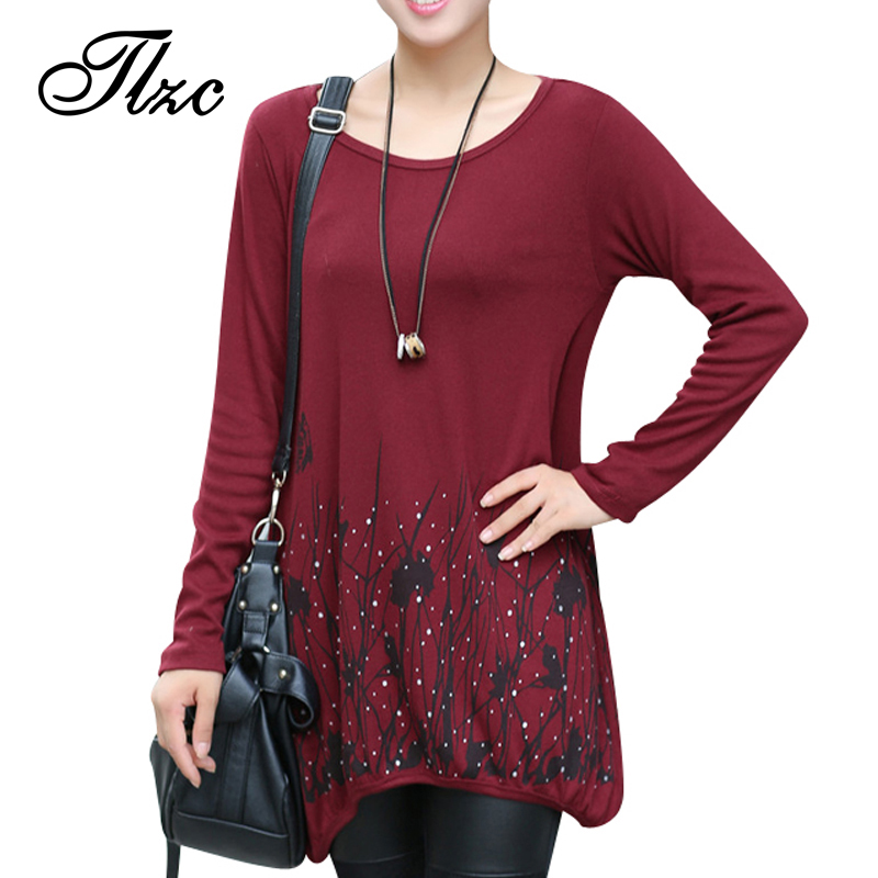 Lady Fashion Loose T-Shirts Large Size L-4XL New Autumn Flower Printed Women  Casual Long Design Tees Shirts 2953dfecfdd6