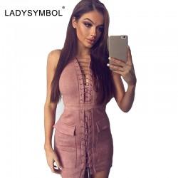 LadySymbol Faux Suede Lace Up Dress Women Slim Casual Winter Bodycon Dress Sexy Pink Elegant Autmun Short Party Mini Dresses
