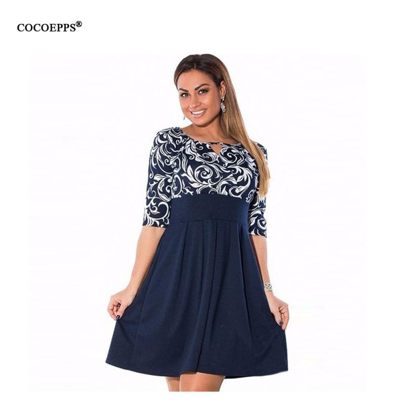 Large Size 6XL Summer Dress 2017 Plus Size Midi Dress Casual ...