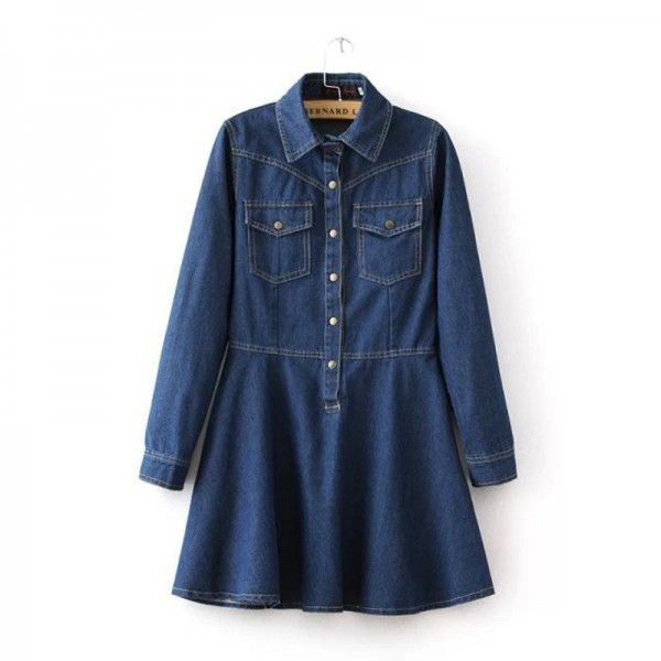 Latest Lapel Collar Long Sleeve Flared Denim Dress With Double Pocket Long Sleeve Button Detail Denim Dress