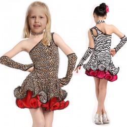 Latin Dance Dress For Girls Samba Dress Ballroom Dancing Dress Girl Dancewear Ballet Vestido Baile Latino Girls Leopard Grain