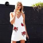 Lily Rosie Girl Off Shoulder Deep V Neck White Embroidery Mini Dress Women Summer Beach Sexy Backless Short Dresses Vestidos