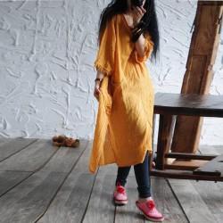 Literature Irregular Women Dress Vestidos 2017 Origial Design Cotton Linen Dress Loose Frayed Tassel Long Sleeve Casual Dresses