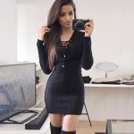 Long Sleeve Lace Up Casual Autumn Winter Mini Sweater Dress 2016 Sexy Casual Cotton Knitted V neck Elegant Women Bodycon Dress