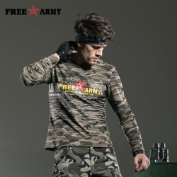 Long Sleeve Quality Men T-shirt Cotton Military Camouflage Fitness Brand T Shirt Camisetas Hombre Men's Tops & Tees Ms-6198B