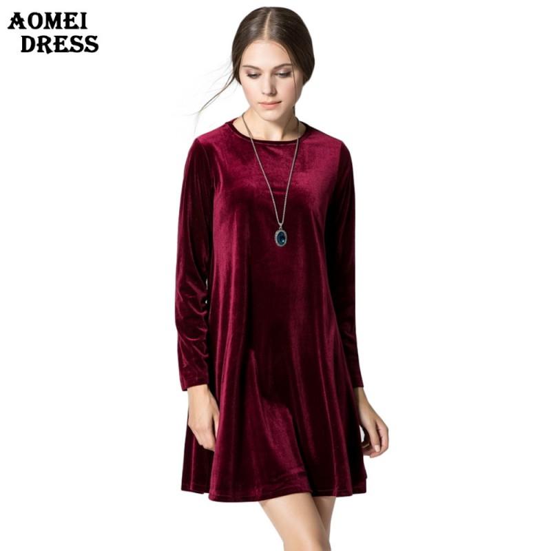 Long Sleeve Women Velvet Dresses Elegant Autumn Winter Slim Fashion ...