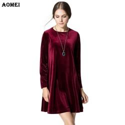 Long Sleeve Women Velvet Dresses Elegant Spring Winter Slim Fashion Casual Vestidos Wine Red Blue Robe Gowns Clothing