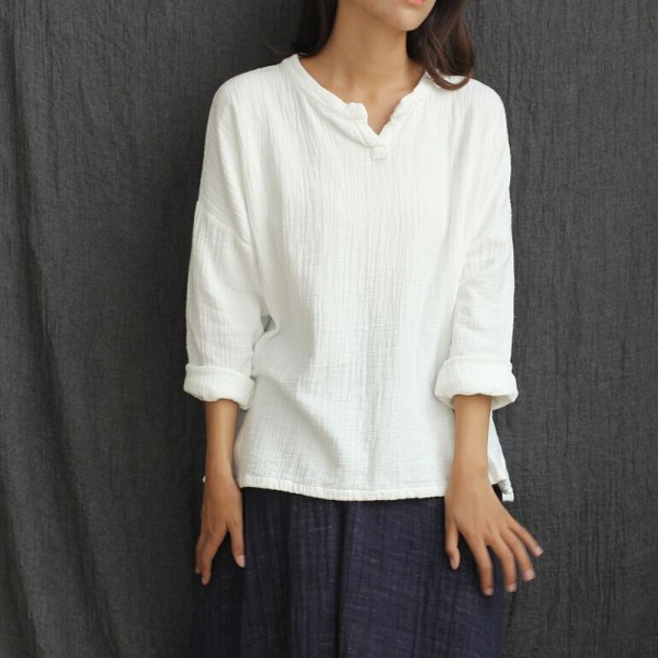 Long sleeve V-neck Linen Blouses Women Mori girl Loose Casual Shirt Solid White Blouses Chinese style Linen Shirts Tops 5008