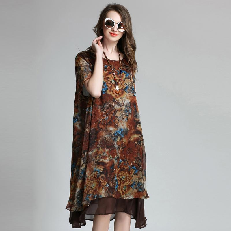 Loose Long Floral Printed Chiffon Dress Short Sleeve Summer Layered