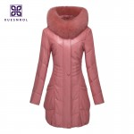 (Lord Fur) Winter Ladies' Genuine Sheepskin Leather Down Parkas Coat Fox Fur Hoody Women Fur Outerwear Coats VK1406