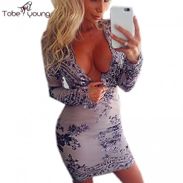 Luxury Sequins Lace Embroidery Sexy Plunge Deep V Neck High Waist Bodycon Shiny Club Party Dresses 2016 Women's Summer Dress