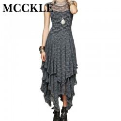 MCCKLE Women's Sleeveless Long Lace dress sexy Irregular Plus Size Woman Party Dress With Ruffles Autumn Boho Maxi Vestidos