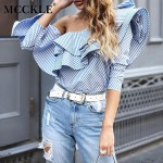 MCCKLE fashion women blouse shirts ruffled neck off the shoulder long sleeve bow tie causal loose tops blouses womens clothing