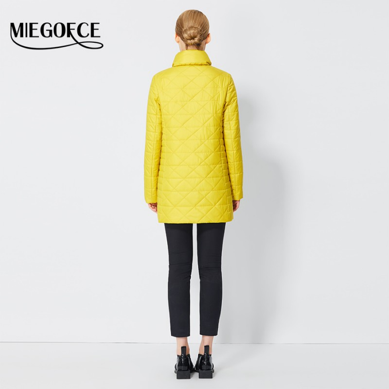 5030a101e MIEGOFCE 2017 Spring Windproof Womens Parkas Thin Cotton-padded Jacket  Oblique Placket Women's Quilted Coat Stand Collar New