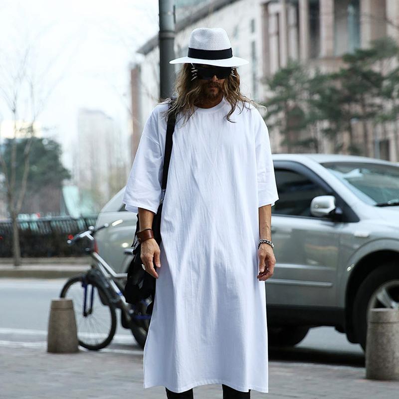 MOGU Extra Long Tee Shirts For Men O-Neck Extra Long Line Tops Tees ...