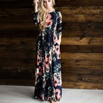 Makkrom 2017 Women Dress Spring Autumn Long Dress Flower Printed O-Neck Party Casual Empire Floor-Length Dress Woman Brand