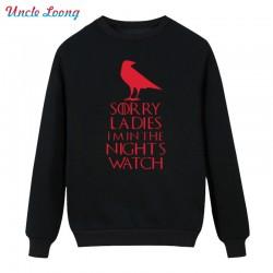 Male Night's Watch Tops Men Round Neck Long Sleeve Winter Style Game of Thrones Vintage Boy Fleece Hoodies Sweatshirt