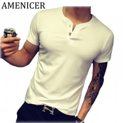 Mans T-Shirt Summer Fashion Solid Color Men Tshirt Double Button Fun Army Bodybuilding Mens Compression Short Sleeve Clothing