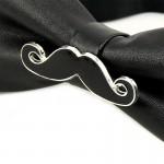 Mantieqingway Brand Bow Ties for Men PU Leather Black White Beard Shape Bowties Fashion Bowknot Bowties Men Christmas Gifts