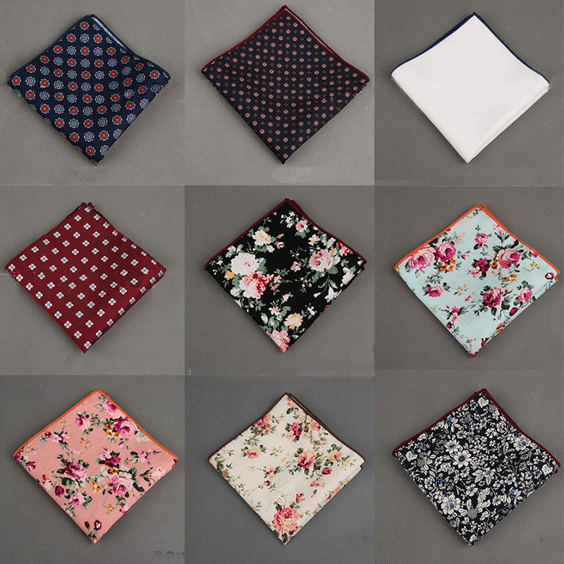 fc2544bf64bf Mantieqingway Cotton+Polyester Handkerchief Floral Printed Pocket Square  Wedding 23cm*23cm Hankies For Men Brand Pocket Towel