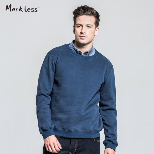 Markless Men's Casual Thick Sweatershirts Long-sleeve Solid Color Sweatershirts Pullover O-neck Man Sweatershirt Fleece Inside