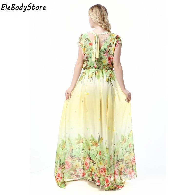 2113c3494d4 Maxi Dress 2018 5XL 6XL 7XL Vestidos Women Casual V Neck Floral Print  Holiday Summer Elegant Woman Long Dresses Plus Size