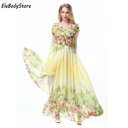 Maxi Dress 2018 5XL 6XL 7XL Vestidos Women Casual V Neck Floral Print Holiday Summer Elegant Woman Long Dresses Plus Size