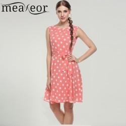 Meaneor 2017 sexy vestido summer dress dot print chiffon elegant casual bow dress White, Pink, Blue, Black