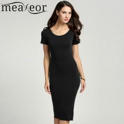 Meaneor Women Summer pencil  Dress Ladies Casual Dress Solid Elegant Bodycon Woman Midi Dress Size S-XXL 5 Colors