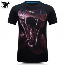 Men Fashion 2016 3D Printed Snake Short Sleeve T-Shirt Homme Casual Brand Clothing O-neck Male T Shirt Cotton Crossfit Camisetas