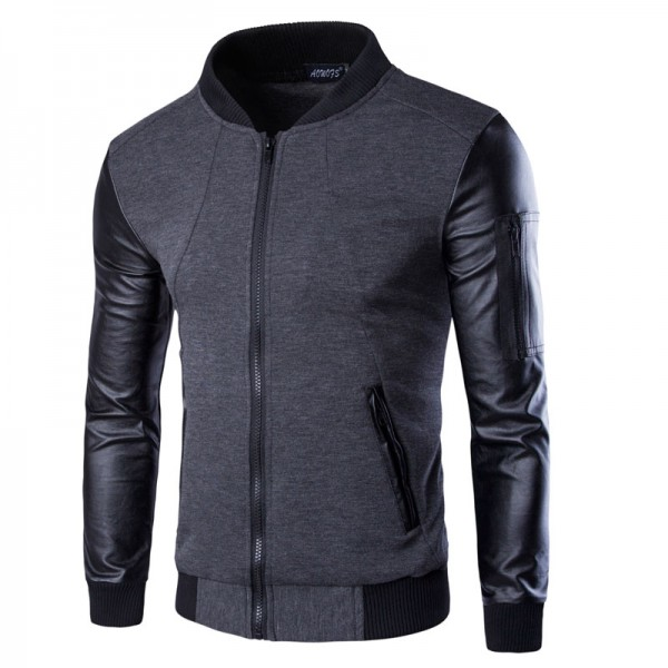 Men Hoodies Patchwork Leather Sleeve Fashion Hoodies Men Jacket Coat Brand Sweatshirt  Suit Pullover Tracksuits Masculino