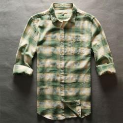 Men Shirt Plaid Checkered Casual Shirt Men Cotton Linen Long Sleeve Male
